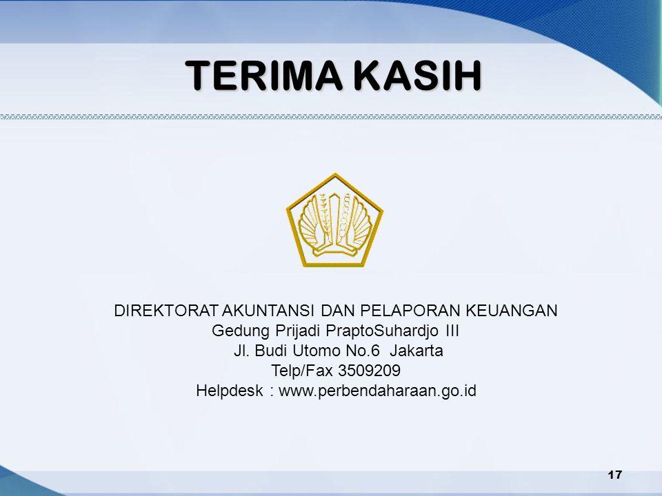TERIMA KASIH DIREKTORAT AKUNTANSI DAN PELAPORAN KEUANGAN Gedung Prijadi PraptoSuhardjo III Jl. Budi Utomo No.6 Jakarta Telp/Fax 3509209 Helpdesk : www