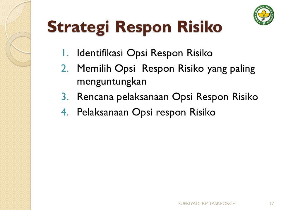 Strategi Respon Risiko 1.Identifikasi Opsi Respon Risiko 2.Memilih Opsi Respon Risiko yang paling menguntungkan 3.Rencana pelaksanaan Opsi Respon Risiko 4.Pelaksanaan Opsi respon Risiko 17SUPRIYADI-RM TASKFORCE