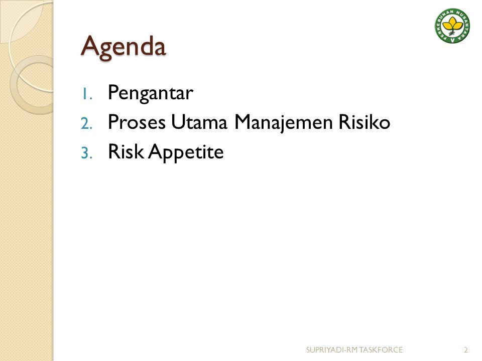 Pengantar Saat ini banyak kerangka proses MR ◦ AS/NZS 4360 : 2004 ◦ COSO ERM : 2004 ◦ ISO 31000 Di Indonesia Sudah Selesai penyusunan Standar Manajemen Risiko Berbasis Governance (Oleh KNKG-BPKP sebagai AnggotaTim) 3SUPRIYADI-RM TASKFORCE