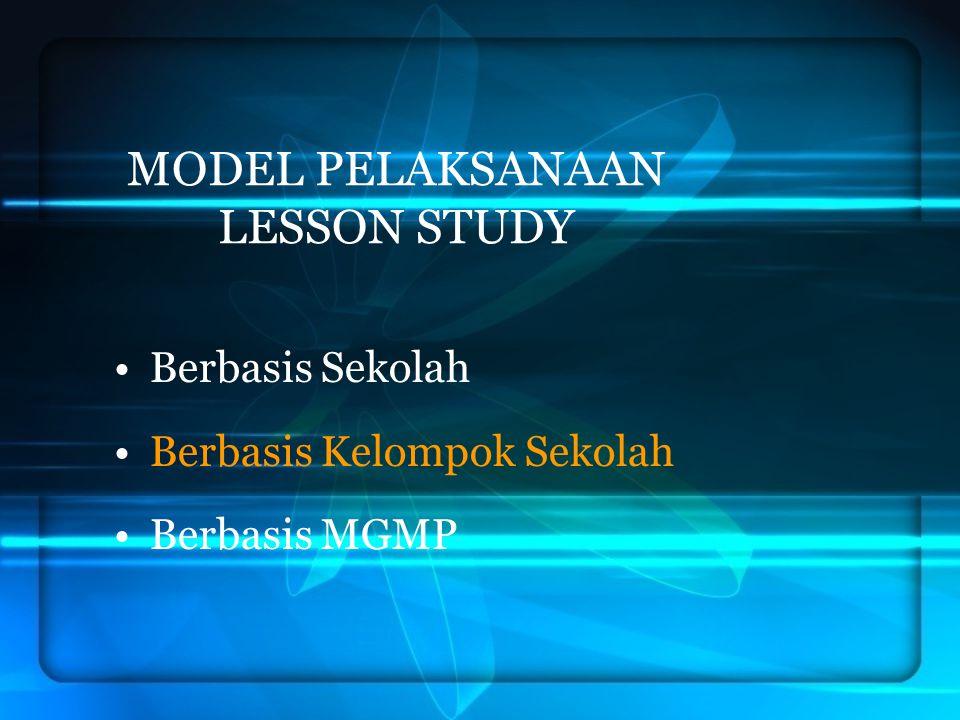 LESSON STUDY BERBASIS SEKOLAH Dilaksanakan pada sekolah tertentu Bentuk kelompok-kelompok guru bidang studi/ rumpun bidang studi Melakukan langkah-langkah lesson study