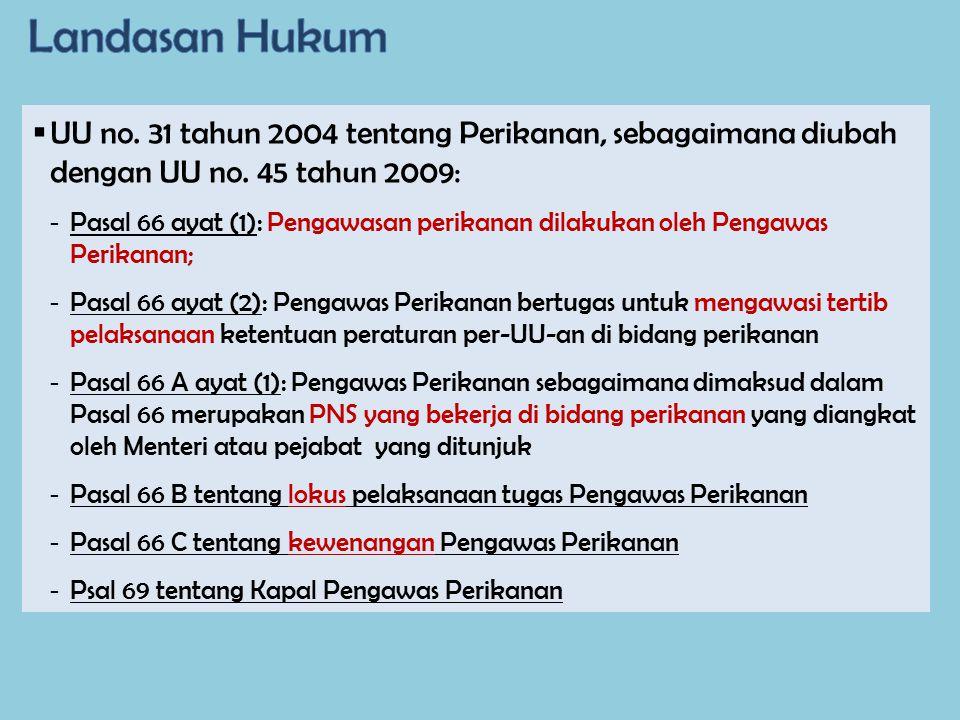  UU no. 31 tahun 2004 tentang Perikanan, sebagaimana diubah dengan UU no. 45 tahun 2009: - Pasal 66 ayat (1): Pengawasan perikanan dilakukan oleh Pen