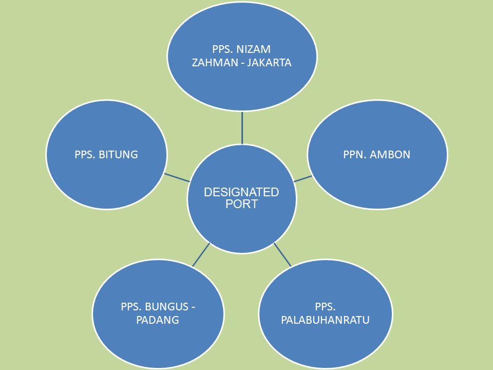 30 DESIGNATED PORT PPS. NIZAM ZAHMAN - JAKARTA PPN. AMBON PPS. PALABUHANRATU PPS. BUNGUS - PADANG PPS. BITUNG