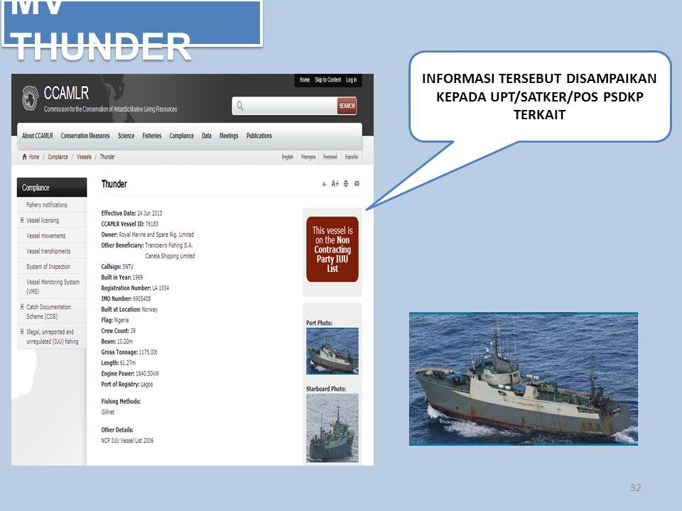 MV THUNDER 32 INFORMASI TERSEBUT DISAMPAIKAN KEPADA UPT/SATKER/POS PSDKP TERKAIT