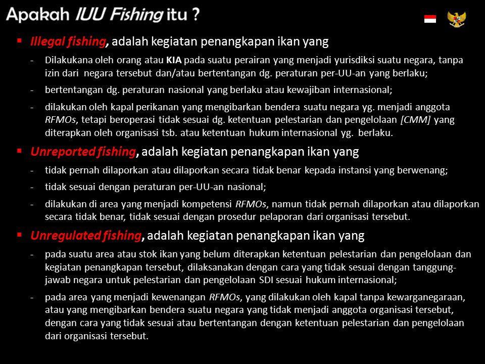 Indonesian Exclusive Economic Zones Territorial Waters DJ PSDKP & POLAIRDJ PSDKP & TNI-AL Dikoordinasikan oleh BAKORKAMLA 0 nm X 12 nm 200 nm 350 nm v x x Perairan Teritorial DJ PSDKP- RFMOs X x 4 nm Zona Ekonomi EksklusifLaut Lepas KII Skala Kecil [± 95%] KII > 5 % KIA KIA Berbendera Indonesia/KII Berbendera Ganda/KII tetapi sejatinya KIA Perairan Kepulauan v v x v