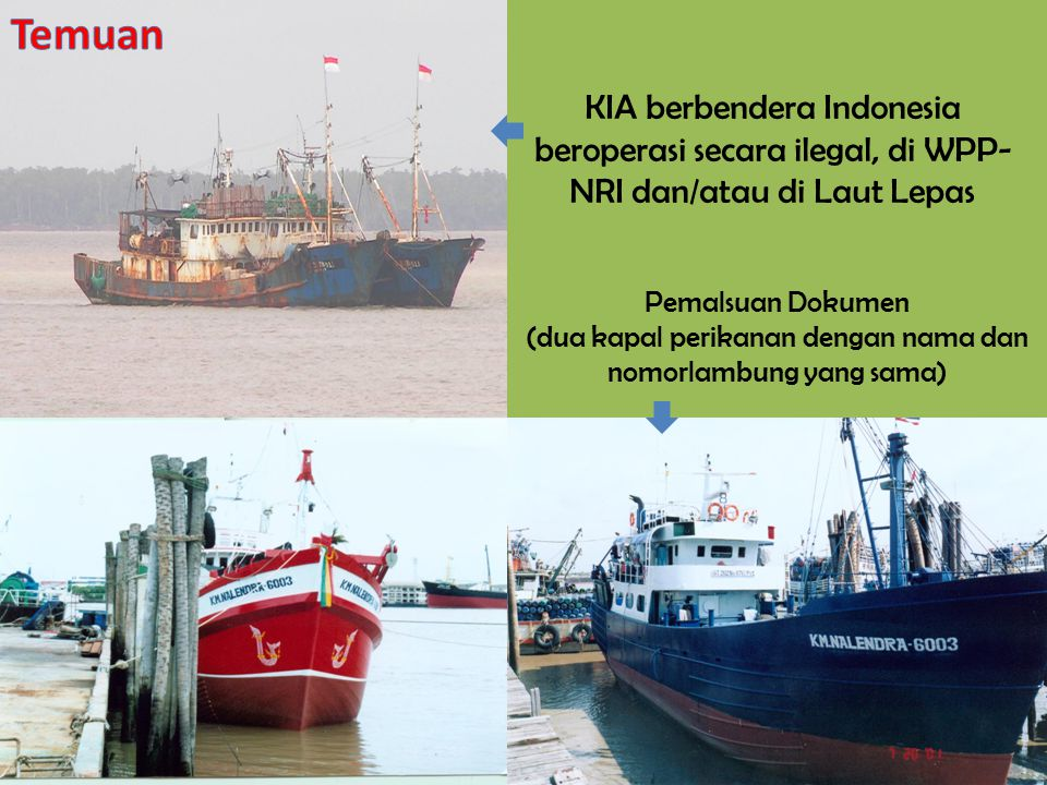KIA berbendera Indonesia beroperasi secara ilegal, di WPP- NRI dan/atau di Laut Lepas Pemalsuan Dokumen (dua kapal perikanan dengan nama dan nomorlamb