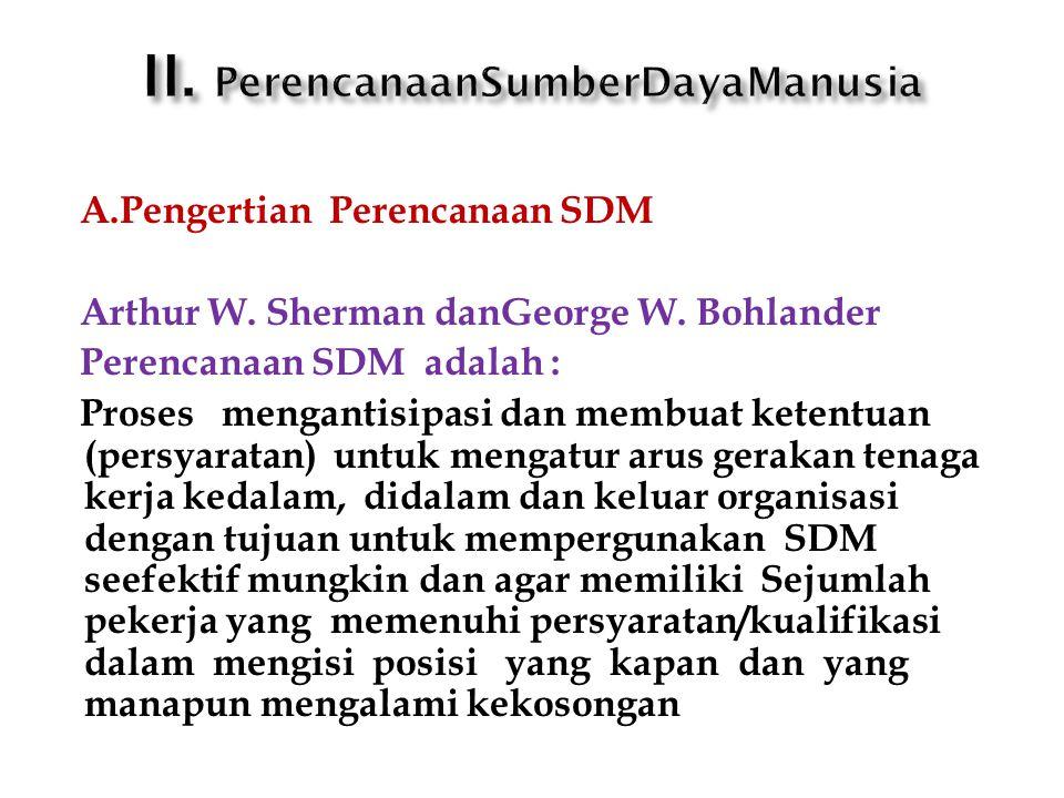 A.Pengertian Perencanaan SDM Arthur W. Sherman danGeorge W. Bohlander Perencanaan SDM adalah : Proses mengantisipasi dan membuat ketentuan (persyarata