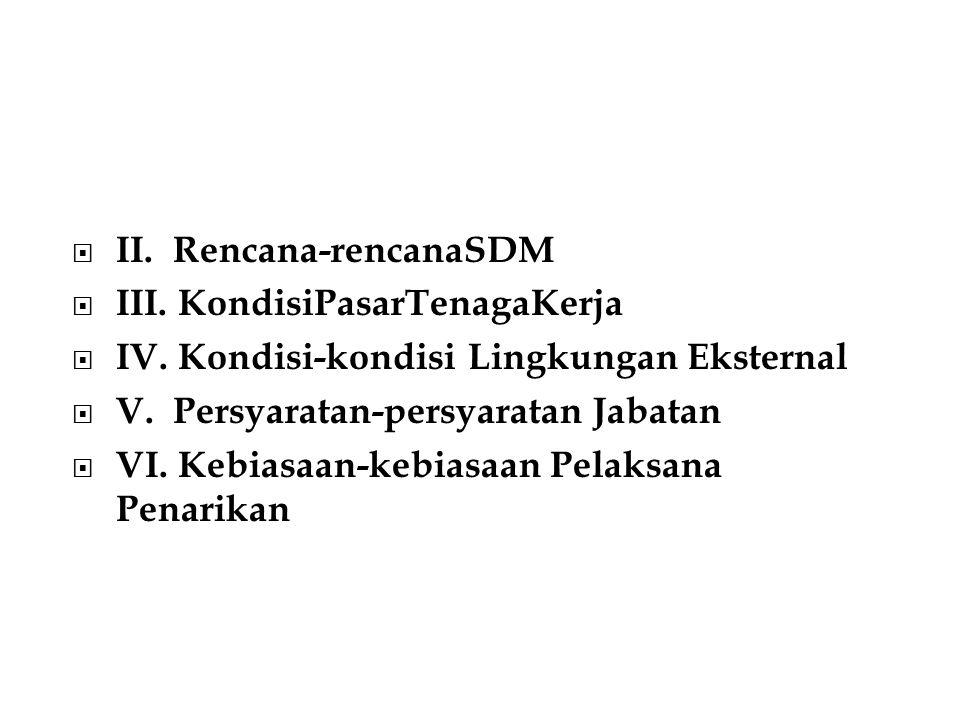 II. Rencana-rencanaSDM  III. KondisiPasarTenagaKerja  IV. Kondisi-kondisi Lingkungan Eksternal  V. Persyaratan-persyaratan Jabatan  VI. Kebiasaa