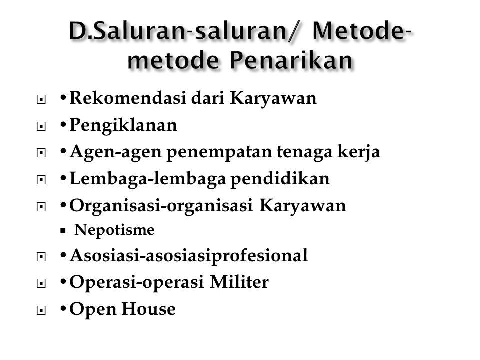  Rekomendasi dari Karyawan  Pengiklanan  Agen-agen penempatan tenaga kerja  Lembaga-lembaga pendidikan  Organisasi-organisasi Karyawan  Nepotism