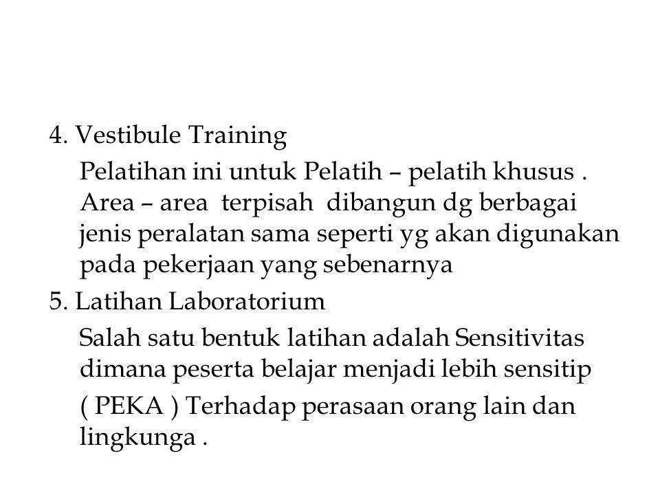 4. Vestibule Training Pelatihan ini untuk Pelatih – pelatih khusus. Area – area terpisah dibangun dg berbagai jenis peralatan sama seperti yg akan dig