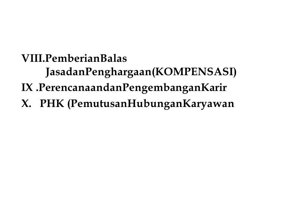 VIII.PemberianBalas JasadanPenghargaan(KOMPENSASI) IX.PerencanaandanPengembanganKarir X.