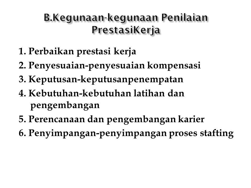 1. Perbaikan prestasi kerja 2. Penyesuaian-penyesuaian kompensasi 3. Keputusan-keputusanpenempatan 4. Kebutuhan-kebutuhan latihan dan pengembangan 5.
