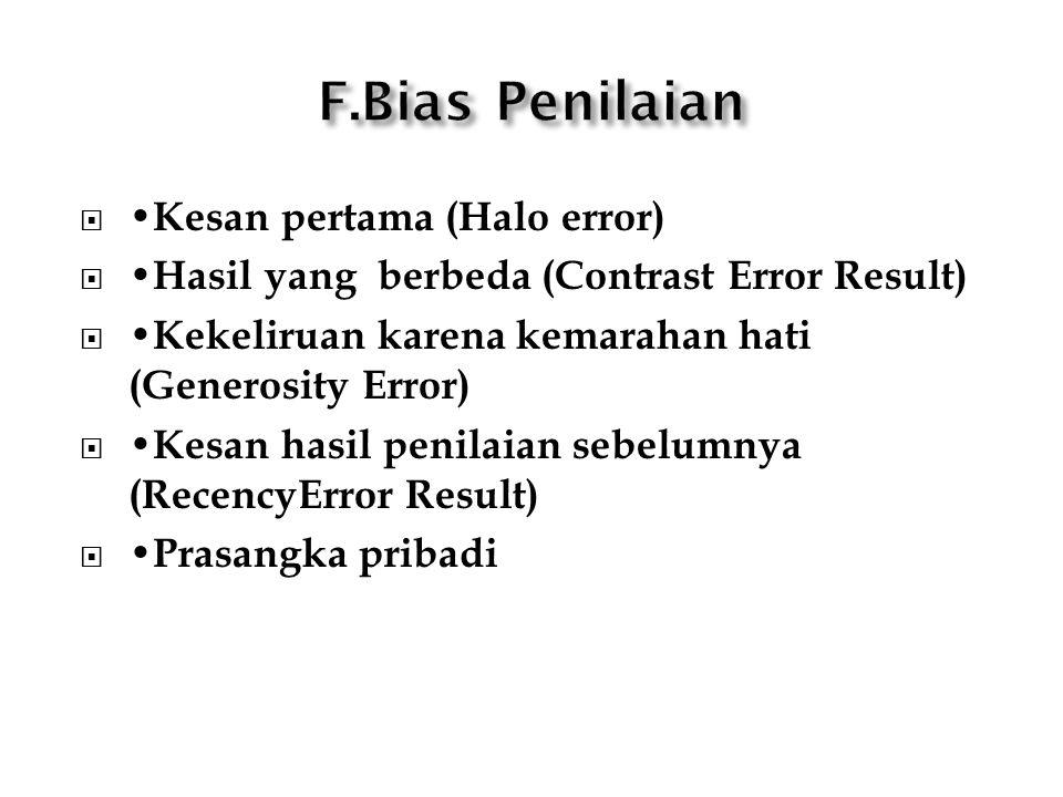  Kesan pertama (Halo error)  Hasil yang berbeda (Contrast Error Result)  Kekeliruan karena kemarahan hati (Generosity Error)  Kesan hasil penilaian sebelumnya (RecencyError Result)  Prasangka pribadi
