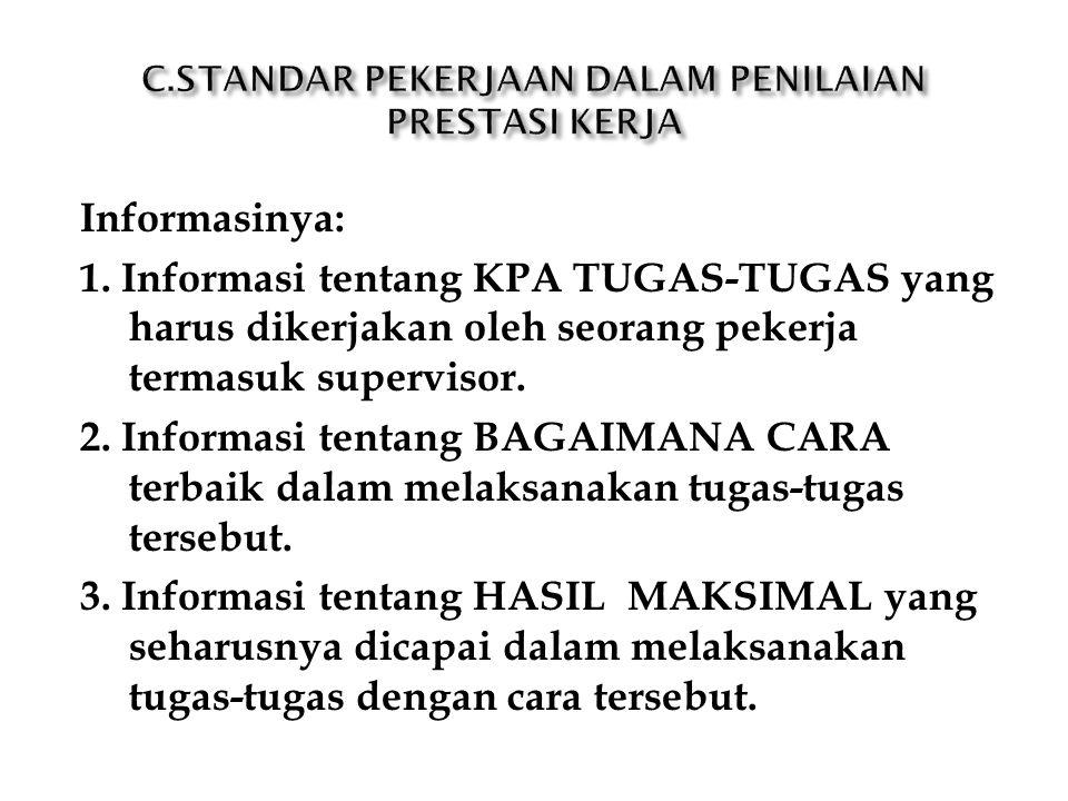 Informasinya: 1. Informasi tentang KPA TUGAS-TUGAS yang harus dikerjakan oleh seorang pekerja termasuk supervisor. 2. Informasi tentang BAGAIMANA CARA