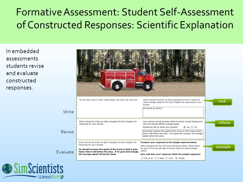 Write Revise Evaluate In embedded assessments students revise and evaluate constructed responses.