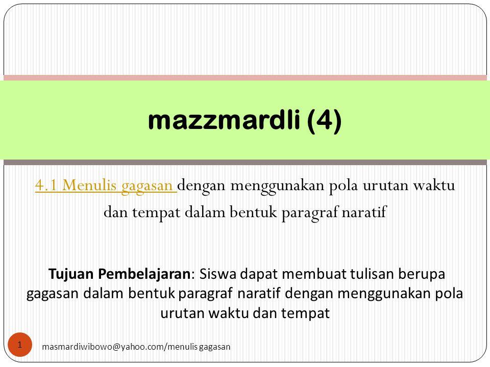2 masmardiwibowo@yahoo.com/menulis gagasan Paragraf naratif Pola Pengembangan karakteristik paragraf naratif karakteristik paragraf naratif Penggunaan kata ulang Latihan Refleksi kembali