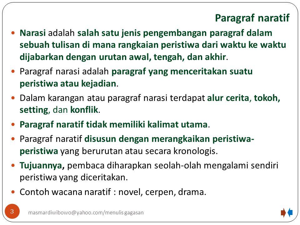 Paragraf naratif 3 masmardiwibowo@yahoo.com/menulis gagasan Narasi adalah salah satu jenis pengembangan paragraf dalam sebuah tulisan di mana rangkaia