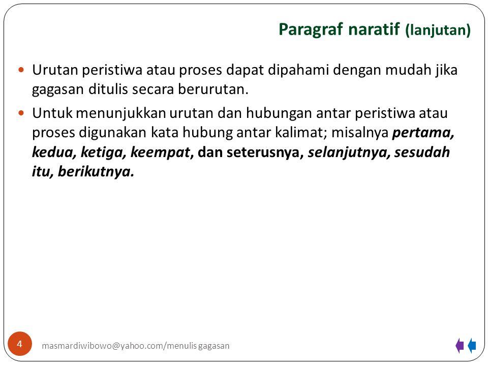 Paragraf naratif (lanjutan) 4 masmardiwibowo@yahoo.com/menulis gagasan Urutan peristiwa atau proses dapat dipahami dengan mudah jika gagasan ditulis s
