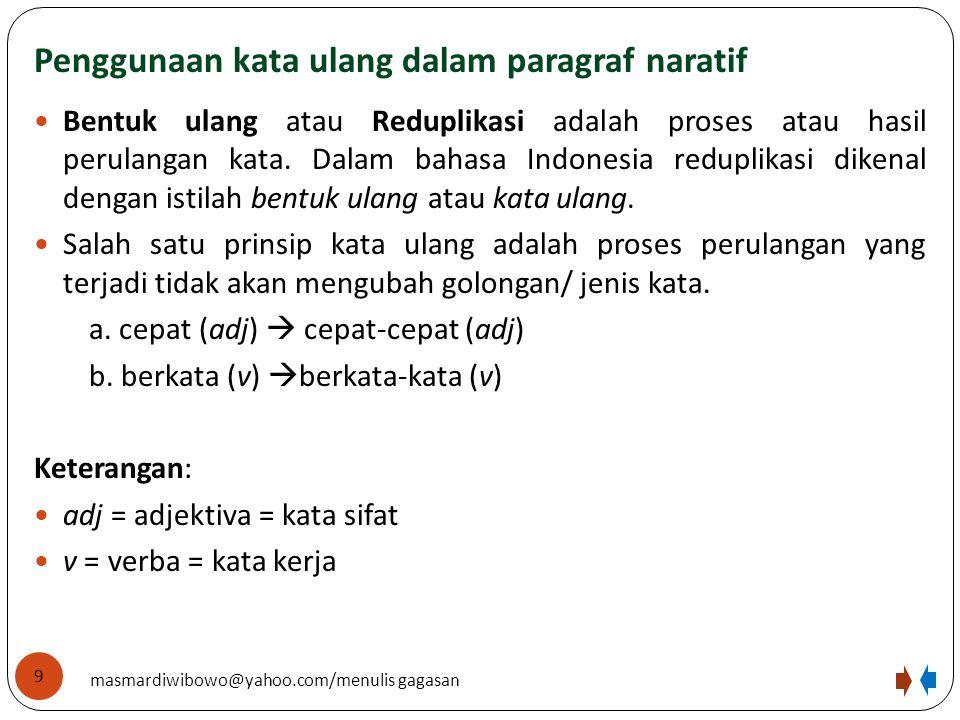Penggunaan kata ulang dalam paragraf naratif Bentuk ulang atau Reduplikasi adalah proses atau hasil perulangan kata. Dalam bahasa Indonesia reduplikas