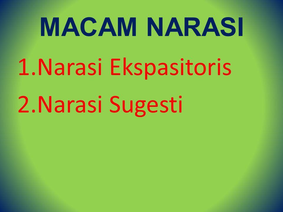 MACAM NARASI 1.Narasi Ekspasitoris 2.Narasi Sugesti