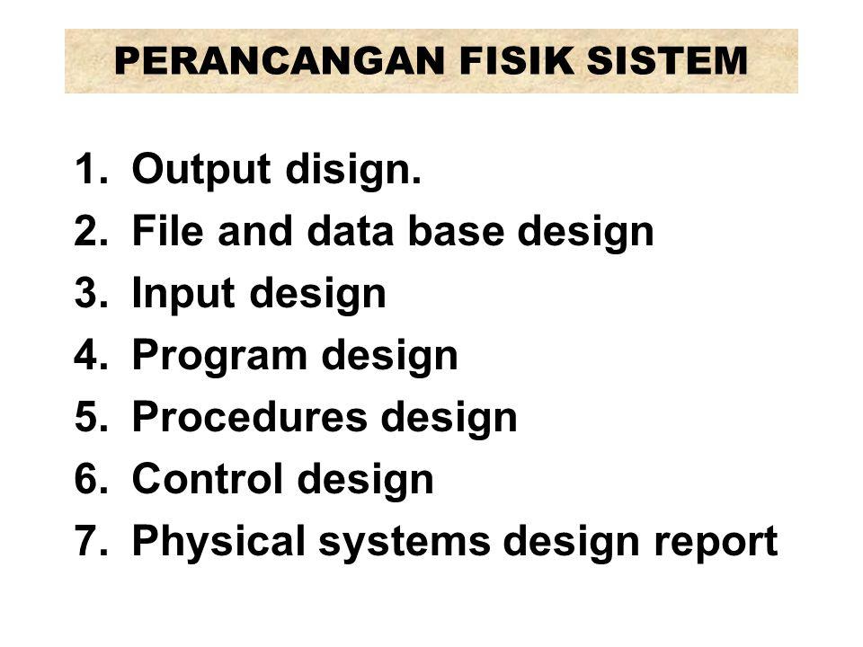 1.Output design, mencakup: sifat, format, isi, frekuensi laporan, tampilan dst.