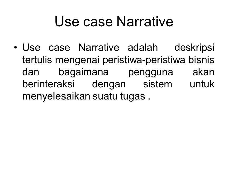 Use case Narrative Use case Narrative adalah deskripsi tertulis mengenai peristiwa-peristiwa bisnis dan bagaimana pengguna akan berinteraksi dengan si