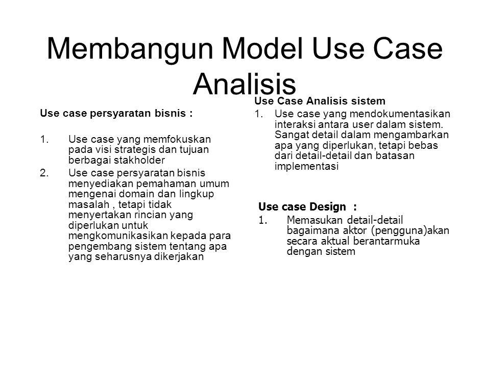 Membangun Model Use Case Analisis Use case persyaratan bisnis : 1.Use case yang memfokuskan pada visi strategis dan tujuan berbagai stakholder 2.Use c