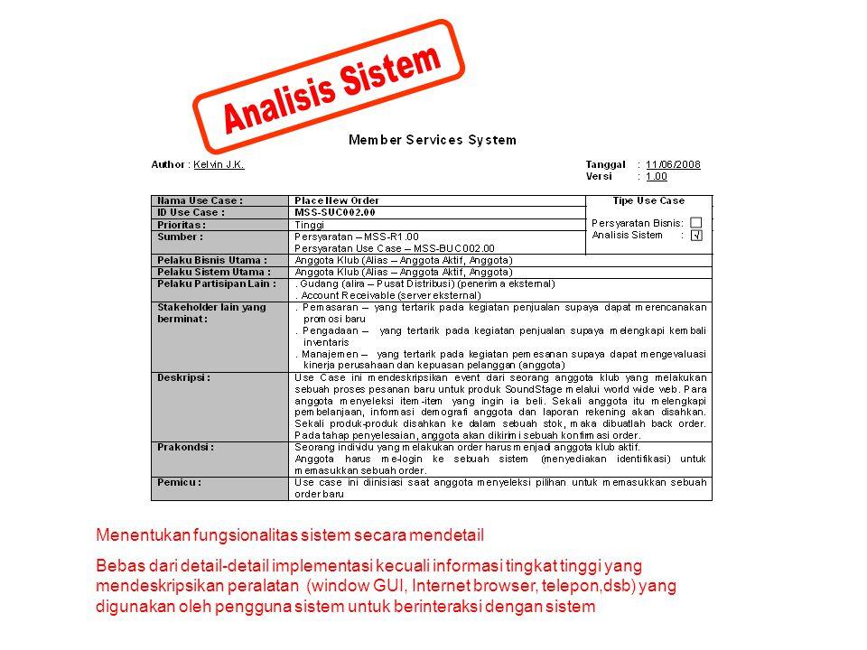 Menentukan fungsionalitas sistem secara mendetail Bebas dari detail-detail implementasi kecuali informasi tingkat tinggi yang mendeskripsikan peralata
