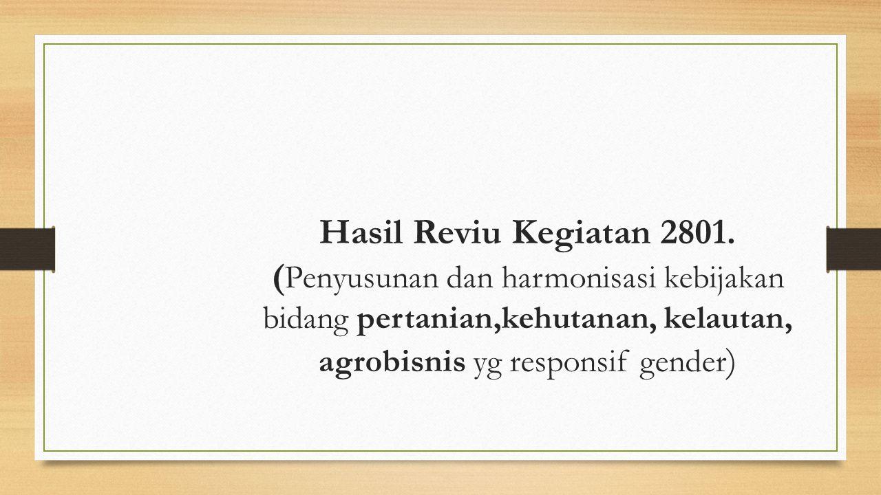 Hasil Reviu Kegiatan 2801. ( Penyusunan dan harmonisasi kebijakan bidang pertanian,kehutanan, kelautan, agrobisnis yg responsif gender )