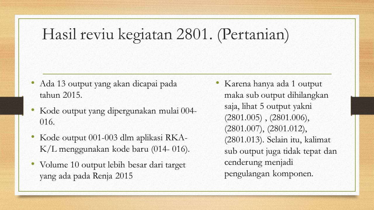 Hasil reviu kegiatan 2801. (Pertanian) Ada 13 output yang akan dicapai pada tahun 2015. Kode output yang dipergunakan mulai 004- 016. Kode output 001-