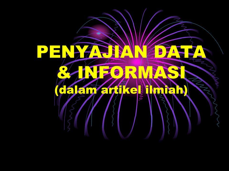 PENYAJIAN DATA & INFORMASI (dalam artikel ilmiah)