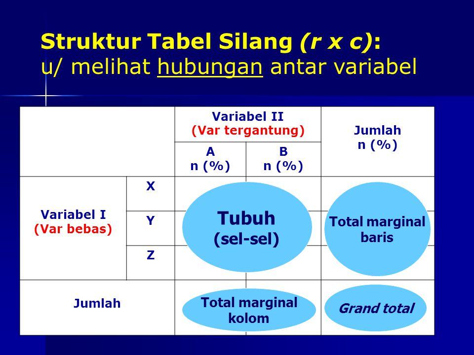 Struktur Tabel Silang (r x c): u/ melihat hubungan antar variabel Variabel II (Var tergantung)Jumlah n (%) A n (%) B n (%) Variabel I (Var bebas) X Y