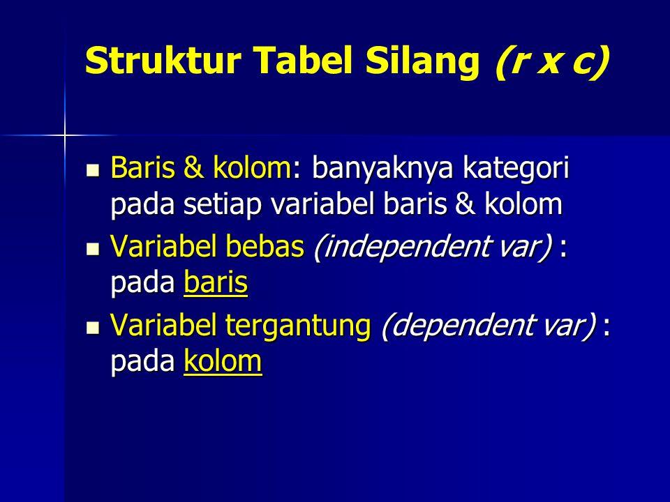 Struktur Tabel Silang (r x c) Baris & kolom: banyaknya kategori pada setiap variabel baris & kolom Baris & kolom: banyaknya kategori pada setiap varia