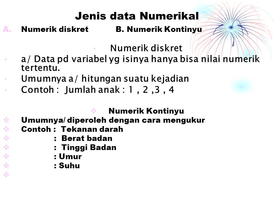 Jenis data Numerikal A.Numerik diskret B. Numerik Kontinyu Numerik diskret a/ Data pd variabel yg isinya hanya bisa nilai numerik tertentu. Umumnya a/