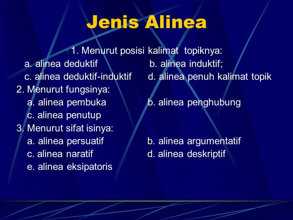 Jenis Alinea 1. 1. Menurut posisi kalimat topiknya: a. alinea deduktif b. alinea induktif; c. alinea deduktif-induktif d. alinea penuh kalimat topik 2