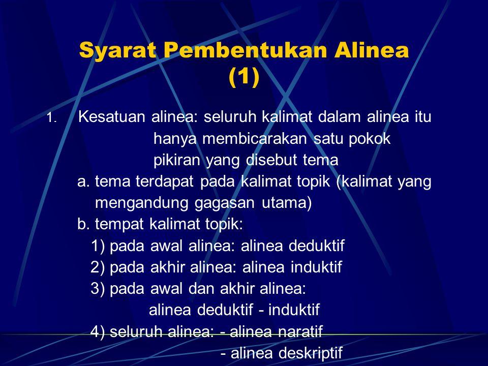 Syarat Pembentukan Alinea (1) 1. Kesatuan alinea: seluruh kalimat dalam alinea itu hanya membicarakan satu pokok pikiran yang disebut tema a. tema ter