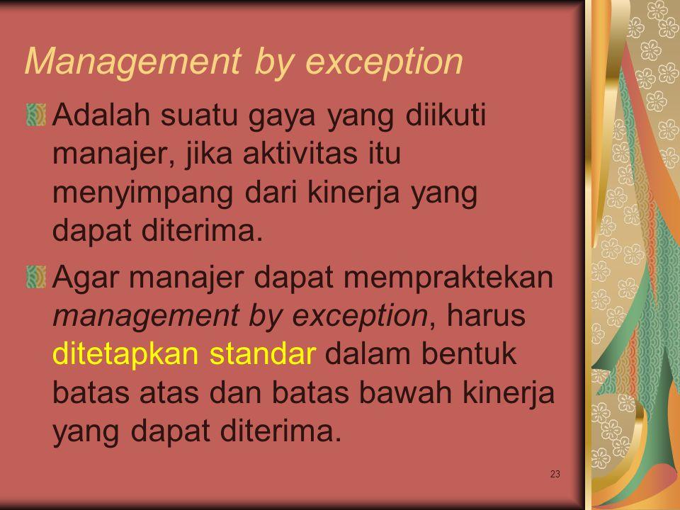 23 Management by exception Adalah suatu gaya yang diikuti manajer, jika aktivitas itu menyimpang dari kinerja yang dapat diterima. Agar manajer dapat