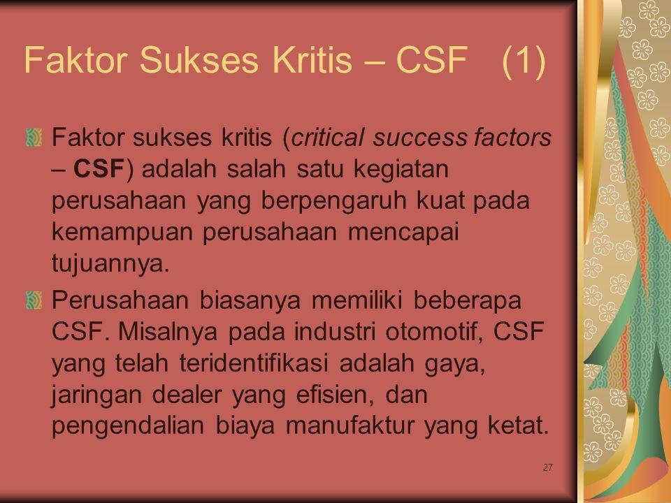 27 Faktor Sukses Kritis – CSF (1) Faktor sukses kritis (critical success factors – CSF) adalah salah satu kegiatan perusahaan yang berpengaruh kuat pada kemampuan perusahaan mencapai tujuannya.