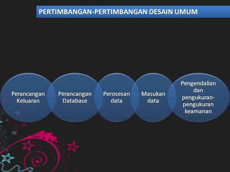 Perancangan formulir Perancangan Database Paket-paket perancangan sistem Memilih perangkat lunak dan perangkat keras TEKNIK-TEKNIK DESAIN