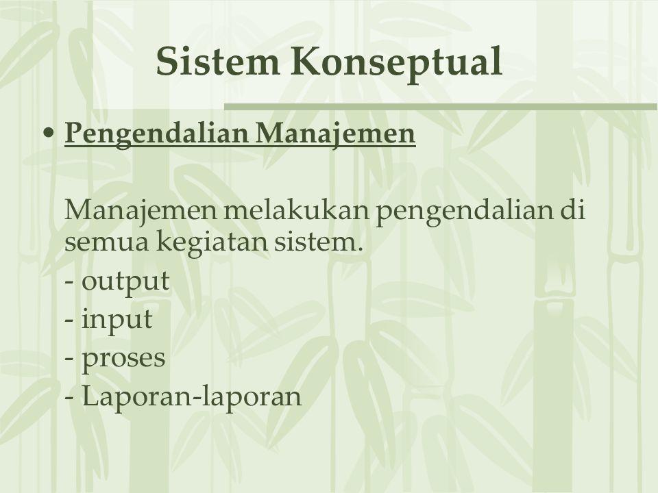 Sistem Konseptual Pengendalian Manajemen Manajemen melakukan pengendalian di semua kegiatan sistem.