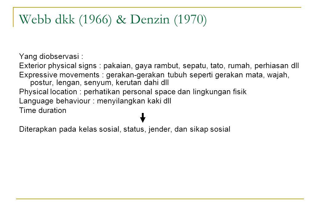 Webb dkk (1966) & Denzin (1970) Yang diobservasi : Exterior physical signs : pakaian, gaya rambut, sepatu, tato, rumah, perhiasan dll Expressive movem