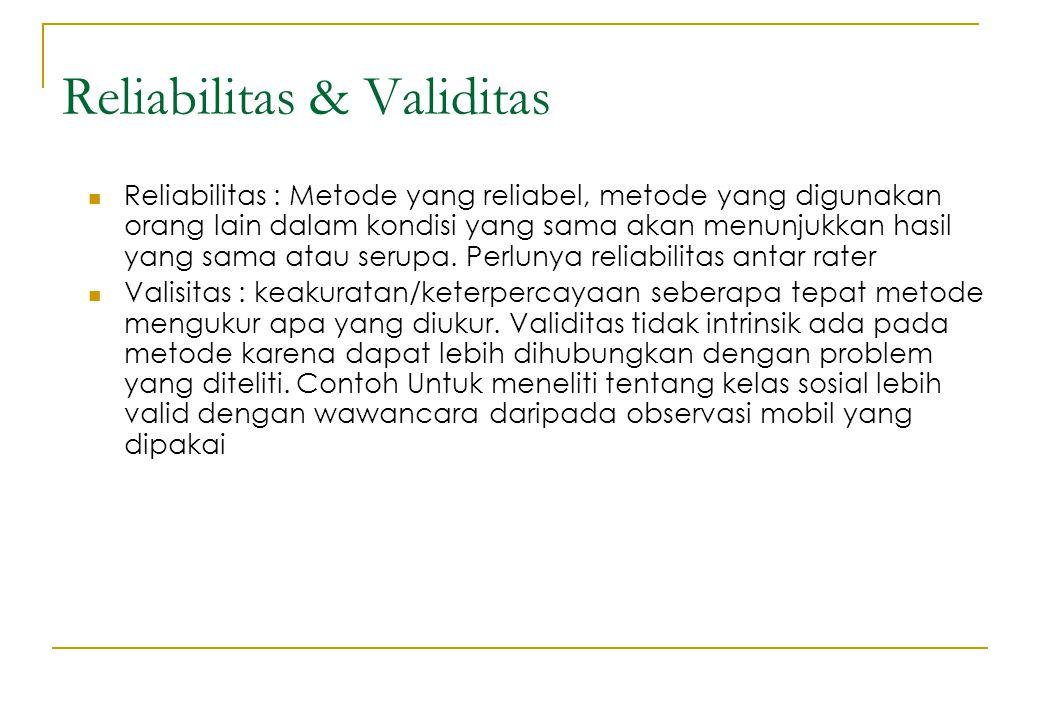 Reliabilitas & Validitas Reliabilitas : Metode yang reliabel, metode yang digunakan orang lain dalam kondisi yang sama akan menunjukkan hasil yang sam