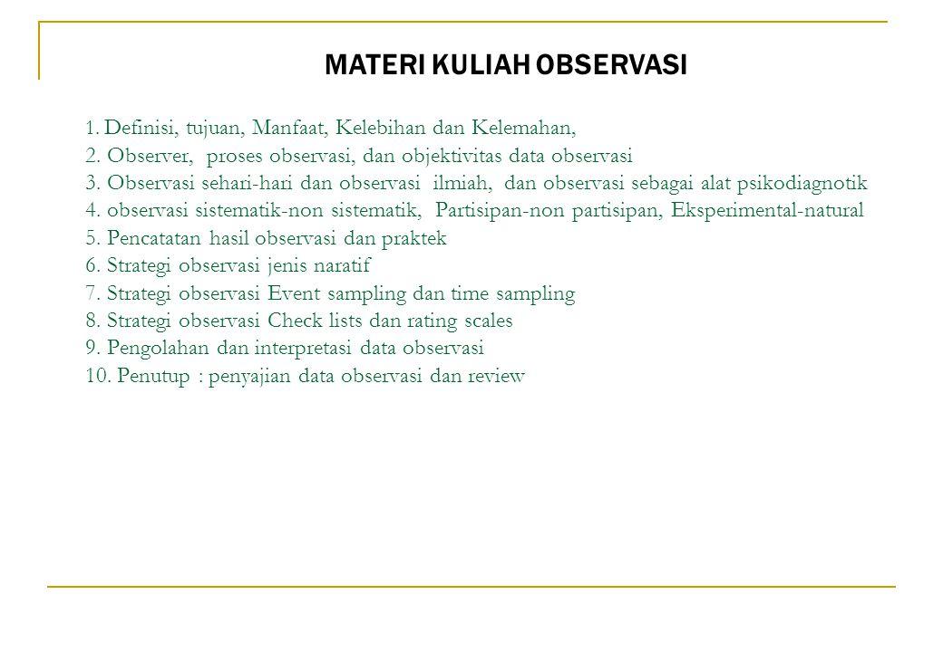 1. Definisi, tujuan, Manfaat, Kelebihan dan Kelemahan, 2. Observer, proses observasi, dan objektivitas data observasi 3. Observasi sehari-hari dan obs
