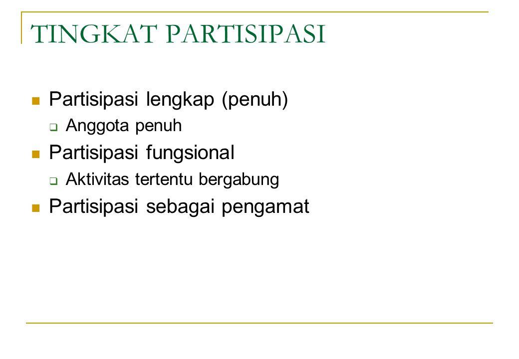 TINGKAT PARTISIPASI Partisipasi lengkap (penuh)  Anggota penuh Partisipasi fungsional  Aktivitas tertentu bergabung Partisipasi sebagai pengamat