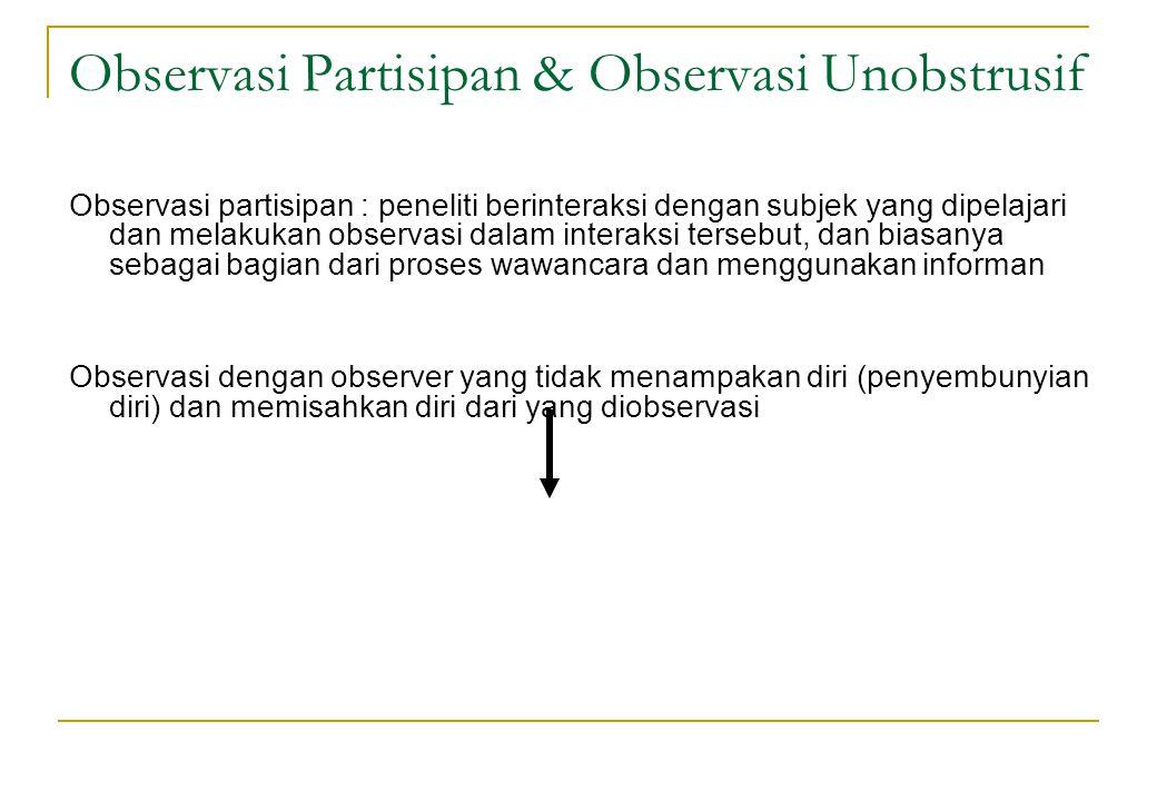 Observasi Partisipan & Observasi Unobstrusif Observasi partisipan : peneliti berinteraksi dengan subjek yang dipelajari dan melakukan observasi dalam
