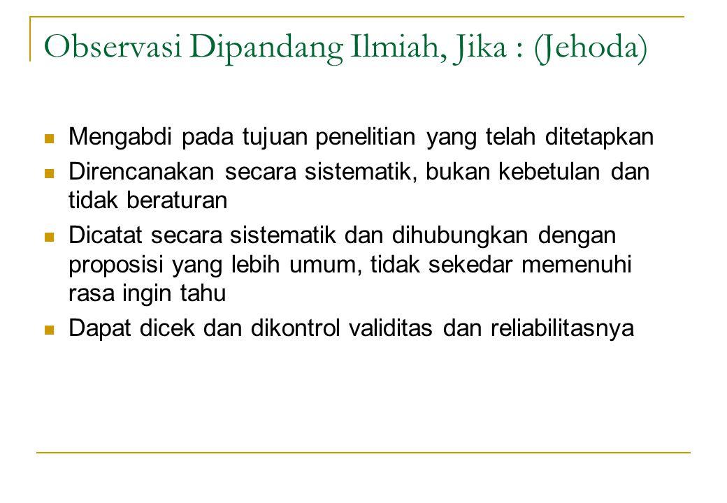 Observasi Dipandang Ilmiah, Jika : (Jehoda) Mengabdi pada tujuan penelitian yang telah ditetapkan Direncanakan secara sistematik, bukan kebetulan dan