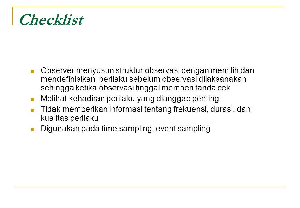 Checklist Observer menyusun struktur observasi dengan memilih dan mendefinisikan perilaku sebelum observasi dilaksanakan sehingga ketika observasi tin