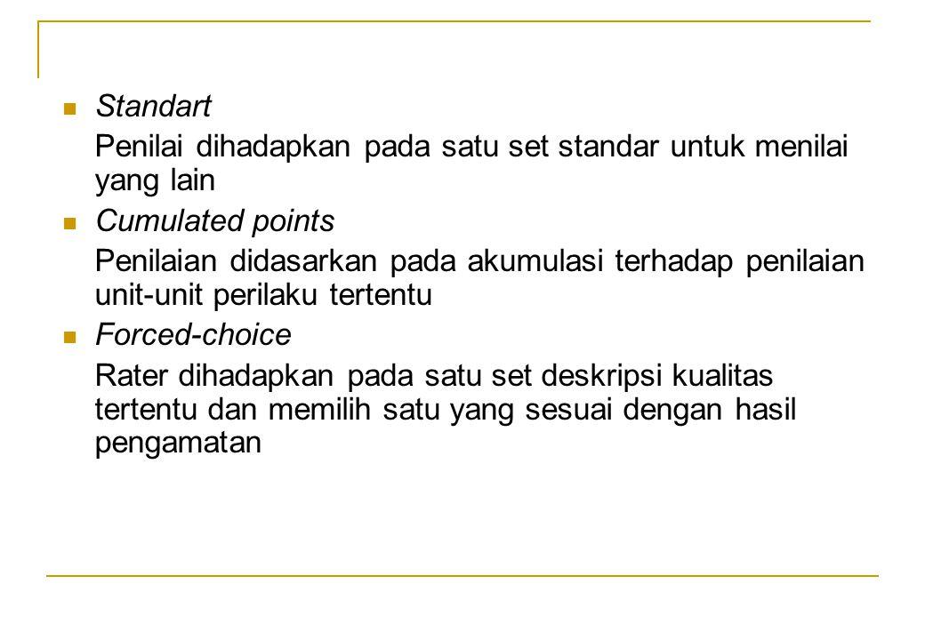 Standart Penilai dihadapkan pada satu set standar untuk menilai yang lain Cumulated points Penilaian didasarkan pada akumulasi terhadap penilaian unit
