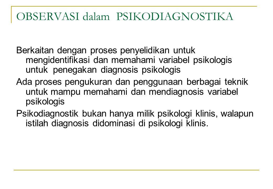 Mengapa Perlu Observasi bagi Psikolog Goodwin & Driscoll (dalam Bentzen, 1993) Memungkinkan mengukur perilaku yang tidak dapat dengan alat ukur psikologis lain (banyak pada anak) Prosedur formal ditanggapi tidak serius (tidak dapat dilakukan) Lebih tidak mengancam (pada anak lebih akurat)