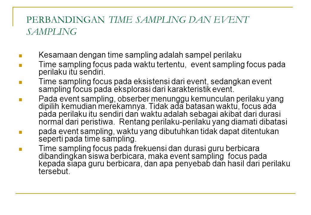 PERBANDINGAN TIME SAMPLING DAN EVENT SAMPLING Kesamaan dengan time sampling adalah sampel perilaku Time sampling focus pada waktu tertentu, event samp