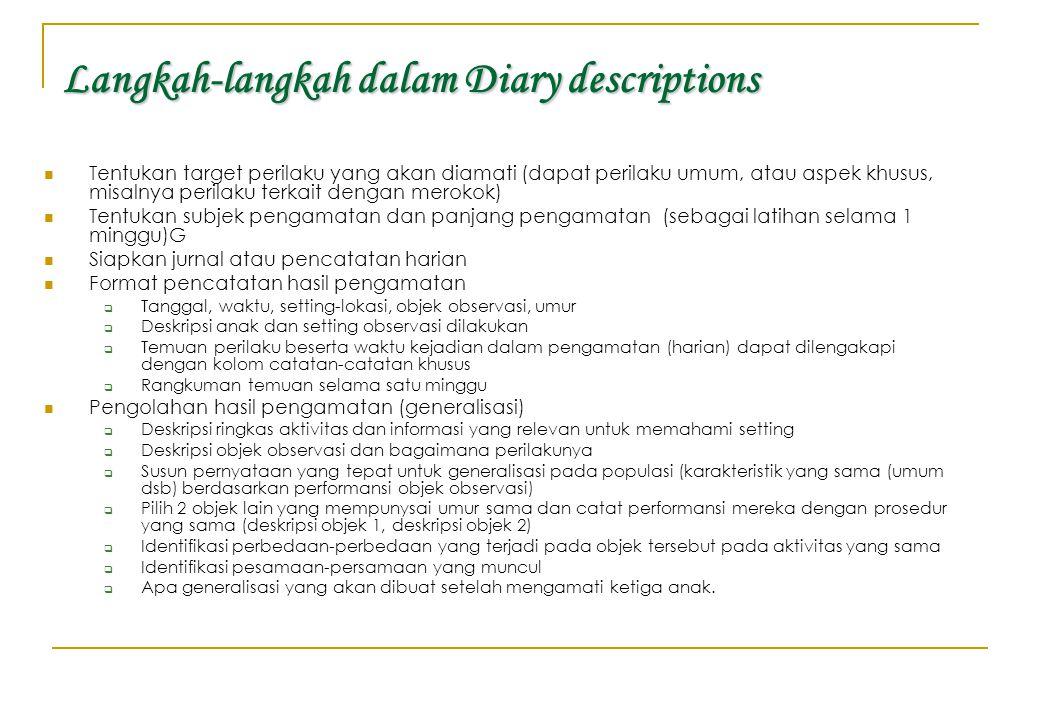 Langkah-langkah dalam Diary descriptions Tentukan target perilaku yang akan diamati (dapat perilaku umum, atau aspek khusus, misalnya perilaku terkait
